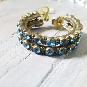 Blue crystal SORRELLI hoop earrings